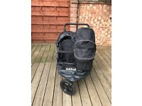Out and About Nipper v4 Double Pushchair with additional carrycot and adaptor, foot muff and basket.