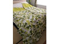Curtains and king size duvet cover green leaf design
