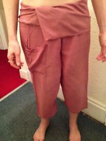 Thai fisherman trousers, salmon 3/4 length