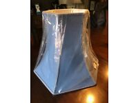 Blue hexagonal fabric table lamp shade