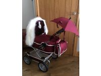 Dolls silvercross pram with fur hood, bag and unbrella