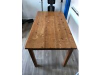 Characterful solid pine table (and four chairs - free)