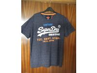 BRAND NEW STILL WITH TAGS - Mens Navy / Grey SUPERDRY T Shirt, Size XL