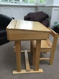 Wooden kids desk and chair