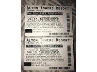 Alton tower tickets 18/08/17