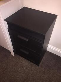 2 drawer black IKEA chest of drawers