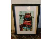 Picture Wall Hanging Print - Suitcases Travel Black Frame