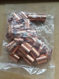 Bag of 25 x 15mm Straight Couplings (Endfeed - copper)