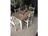 Shabby chic / solid pine table and 4 chairs