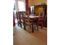 Indian wood table 5 chairs