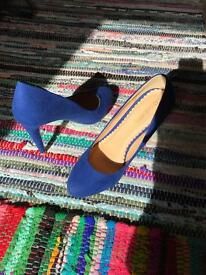 Blue high heeled shoes size 5