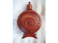 NEW Romania carved wood and glass flask/bottle/canteen for wine/water etc. £4 ovno.