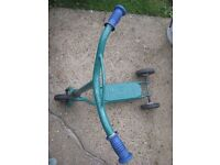 Green Metal Three-Wheel Scooter - low price for quick sale