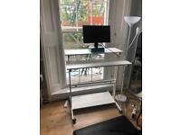 Standing work desk and rubber floor mat
