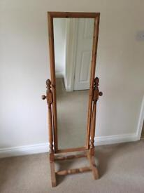 Pine freestanding bedroom mirror