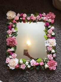 Flower covered wedding mirrors seating plan welcome sign
