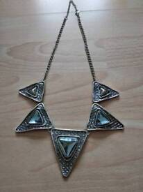New silver statement large triangle necklace