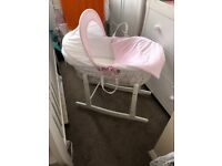 Baby girls Moses basket and stand