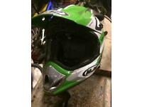Motorcross Kawasaki bike helmet and goggles for sale