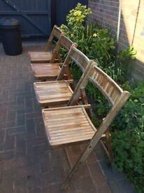 4x vintage folding garden chair in need of tlc