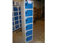 Personal locker, 6 compartment, blue / smoke grey