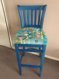 Upcycled solid wood barstool