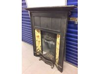 SUPERB VICTORIAN / EDWARDIAN CAST IRON TILED FIREPLACE. ALL IN ONE COMBINATION.