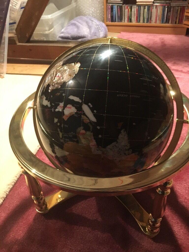 gemstone globe oceans lapis lazuli 330mm with