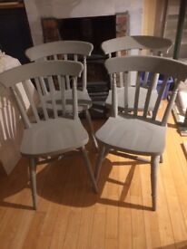 Annie Sloan grey solid wood farmhouse dining chairs x 4