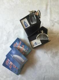 2 Boxed Glass Key Rings + 2 Packs Of Playing Cards (All Depicting Landmark Dubai Hotels)