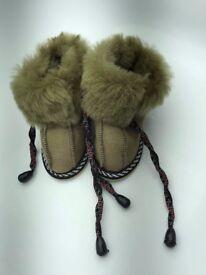 New genuine sheepskin leather handmade indoors slippers for children