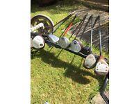 Golf bag, trolley and random clubs