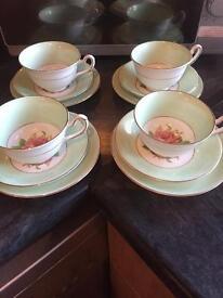 Set of 4 Staffordshire Porcelain trios