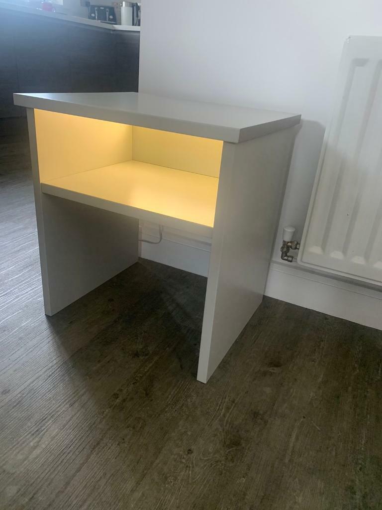 Light Grey Bedside Table: Grey Bedside Table With Led Light