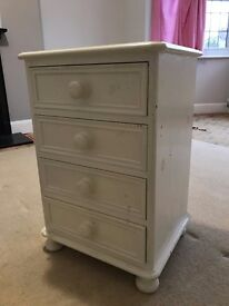 SHABBY CHIC SOLID Pine Bedside Table - Painted Cream