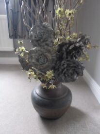 TRIBAL DESIGN VASE WITH DRIED FLOWERS AND TALL TWIGS