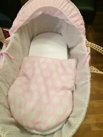 Pink and white spotted Moses basket and rocking stand