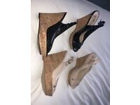 2 x wedge sandals size 5