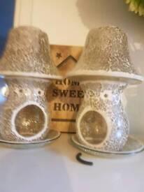 Glass wax or tealight burners x 2