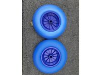 Pair solid wheel barrow wheels