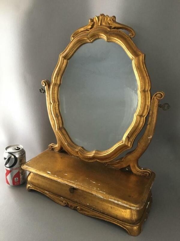 ANTIQUE SHABBY VTG CHIC ITALIAN FLORENTINE GOLD GILT TOLE WOOD VANITY MIRROR