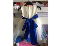 Royal blue and ivory flower girl dress
