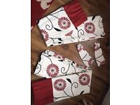 Red Fully Lined Readymade Curtain Pair 90x54inch appx Including One Pair Of Co-Ordinating Tiebacks.