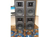 TWO PAIRS - Yamaha AS-108 - Passive PA / Studio Speakers with FREE 10 Metre Cables