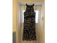 Hobbs black and white spotty chiffon dress