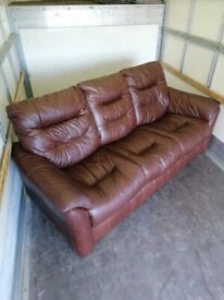 Brown Leather 3 Seater Sofa - Great Condition