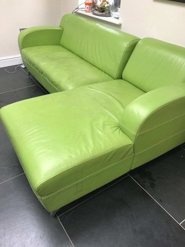 Ugly bright green leather sofa 4 parts free to good home