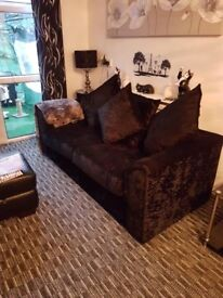 Black 2 seater and 3 seater crushed velvet