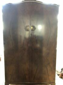 Small antique style walnut wardrobe
