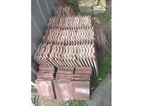 41 Whole Large Interlocking Roof Tiles (concrete, dark red)